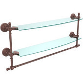 Retro-Wave Collection 24'' Double Glass Shelf w/Towel Bar, Premium Finish, Antique Copper