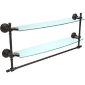 Retro-Wave Collection 24'' Double Glass Shelf w/Towel Bar, Premium Finish, Oil Rubbed Bronze