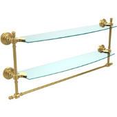 Retro-Wave Collection 24'' Double Glass Shelf w/Towel Bar, Standard Finish, Polished Brass
