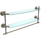 Retro-Wave Collection 24'' Double Glass Shelf w/Towel Bar, Premium Finish, Antique Pewter
