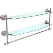 Retro-Wave Collection 24'' Double Glass Shelf w/Towel Bar, Premium Finish, Polished Nickel