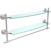 Retro-Wave Collection 24'' Double Glass Shelf w/Towel Bar, Premium Finish, Satin Chrome