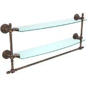 Retro-Wave Collection 24'' Double Glass Shelf w/Towel Bar, Premium Finish, Venetian Bronze