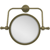 Retro Wave Collection Wall Mounted Swivel Make-Up Mirror 8 Inch Diameter with 2X Magnification, Antique Brass