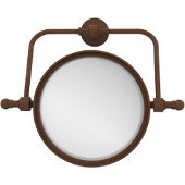 Retro Wave Collection Wall Mounted Swivel Make-Up Mirror 8 Inch Diameter with 3X Magnification, Antique Bronze