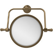 Retro Wave Collection Wall Mounted Swivel Make-Up Mirror 8 Inch Diameter with 2X Magnification, Brushed Bronze