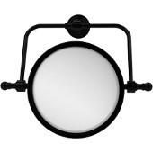 Retro Wave Collection Wall Mounted Swivel Make-Up Mirror 8 Inch Diameter with 3X Magnification, Matte Black