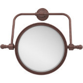 Retro Wave Collection Wall Mounted Swivel Make-Up Mirror 8 Inch Diameter with 3X Magnification, Antique Copper