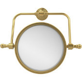 Retro Wave Collection Wall Mounted Swivel Make-Up Mirror 8 Inch Diameter with 3X Magnification, Unlacquered Brass