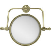 Retro Wave Collection Wall Mounted Swivel Make-Up Mirror 8 Inch Diameter with 3X Magnification, Satin Brass