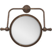 Retro Wave Collection Wall Mounted Swivel Make-Up Mirror 8 Inch Diameter with 2X Magnification, Venetian Bronze