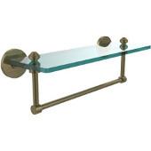 Southbeach Collection 16'' Glass Shelf w/Towel Bar, Premium Finish, Antique Brass