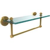 Southbeach Collection 16'' Glass Shelf w/Towel Bar, Standard Finish, Polished Brass