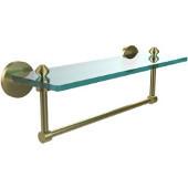 Southbeach Collection 16'' Glass Shelf w/Towel Bar, Premium Finish, Satin Brass