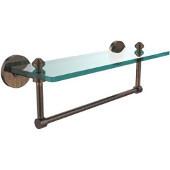 Southbeach Collection 16'' Glass Shelf w/Towel Bar, Premium Finish, Venetian Bronze