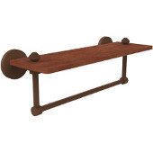 South Beach Collection 16 Inch Solid IPE Ironwood Shelf with Integrated Towel Bar, Antique Bronze