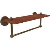 South Beach Collection 16 Inch Solid IPE Ironwood Shelf with Integrated Towel Bar, Brushed Bronze