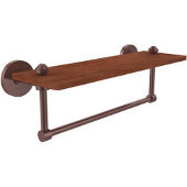 South Beach Collection 16 Inch Solid IPE Ironwood Shelf with Integrated Towel Bar, Antique Copper