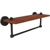 South Beach Collection 16 Inch Solid IPE Ironwood Shelf with Integrated Towel Bar, Oil Rubbed Bronze