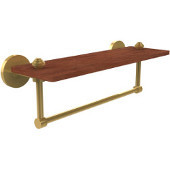 South Beach Collection 16 Inch Solid IPE Ironwood Shelf with Integrated Towel Bar, Polished Brass