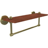 South Beach Collection 16 Inch Solid IPE Ironwood Shelf with Integrated Towel Bar, Satin Brass