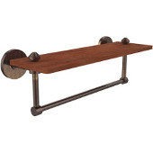 South Beach Collection 16 Inch Solid IPE Ironwood Shelf with Integrated Towel Bar, Venetian Bronze