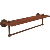 South Beach Collection 22 Inch Solid IPE Ironwood Shelf with Integrated Towel Bar, Antique Bronze