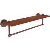 South Beach Collection 22 Inch Solid IPE Ironwood Shelf with Integrated Towel Bar, Antique Copper