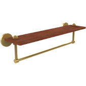 South Beach Collection 22 Inch Solid IPE Ironwood Shelf with Integrated Towel Bar, Unlacquered Brass