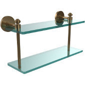 Southbeach Collection 16 Inch Two Tiered Glass Shelf, Brushed Bronze