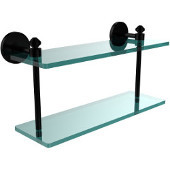 Southbeach Collection 16 Inch Two Tiered Glass Shelf, Matte Black