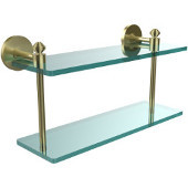 Southbeach Collection 16 Inch Two Tiered Glass Shelf, Satin Brass