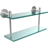Southbeach Collection 16 Inch Two Tiered Glass Shelf, Satin Chrome
