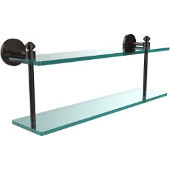 Southbeach Collection 22 Inch Two Tiered Glass Shelf, Oil Rubbed Bronze