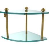 Southbeach Collection Double Corner Glass Shelf, Standard Finish, Polished Brass