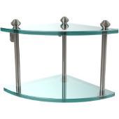 Southbeach Collection Double Corner Glass Shelf, Premium Finish, Polished Nickel