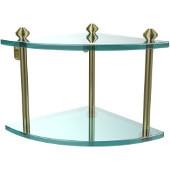 Southbeach Collection Double Corner Glass Shelf, Premium Finish, Satin Brass