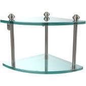 Southbeach Collection Double Corner Glass Shelf, Premium Finish, Satin Nickel