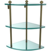 Southbeach Collection Triple Corner Glass Shelf, Premium Finish, Antique Brass