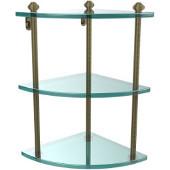 Southbeach Collection Triple Corner Glass Shelf, Premium Finish, Antique Brass