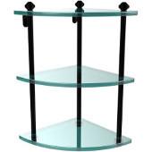 Southbeach Collection Three Tier Corner Glass Shelf, Matte Black