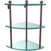 Southbeach Collection Triple Corner Glass Shelf, Premium Finish, Antique Copper
