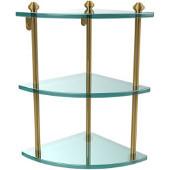 Southbeach Collection Triple Corner Glass Shelf, Standard Finish, Polished Brass