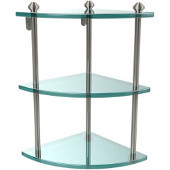 Southbeach Collection Triple Corner Glass Shelf, Premium Finish, Polished Nickel