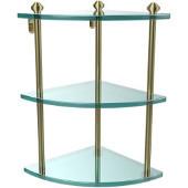 Southbeach Collection Triple Corner Glass Shelf, Premium Finish, Satin Brass