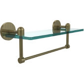 Tango Collection 16'' Glass Shelf w/Towel Bar, Premium Finish, Antique Brass