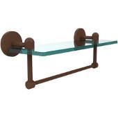 Tango Collection 16'' Glass Shelf w/Towel Bar, Premium Finish, Rustic Bronze