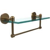 Tango Collection 16'' Glass Shelf w/Towel Bar, Premium Finish, Brushed Bronze