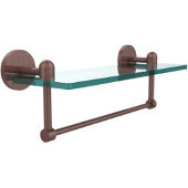 Tango Collection 16'' Glass Shelf w/Towel Bar, Premium Finish, Antique Copper