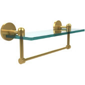 Tango Collection 16 Inch Glass Vanity Shelf with Integrated Towel Bar, Unlacquered Brass